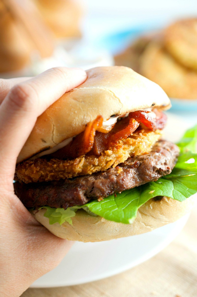 Fried Green Tomato Bacon Burger