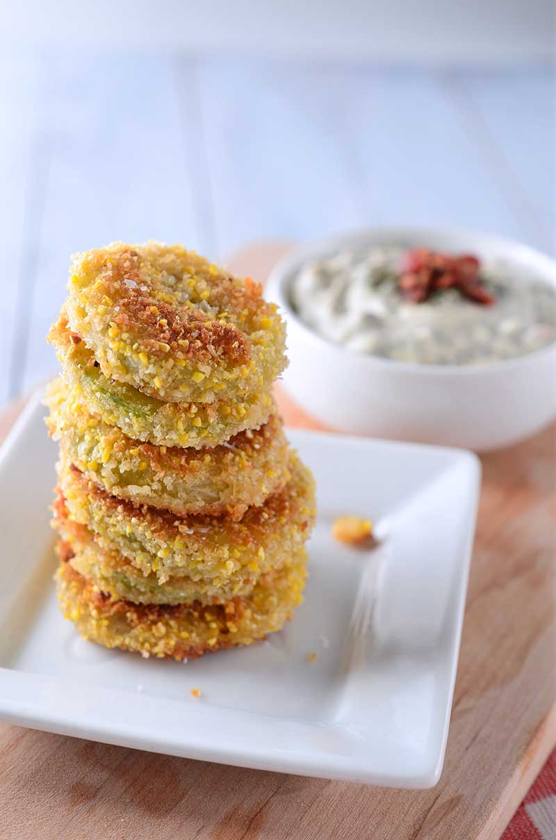 Fried Green Tomatoes with Bacon Ranch Dipping Sauce