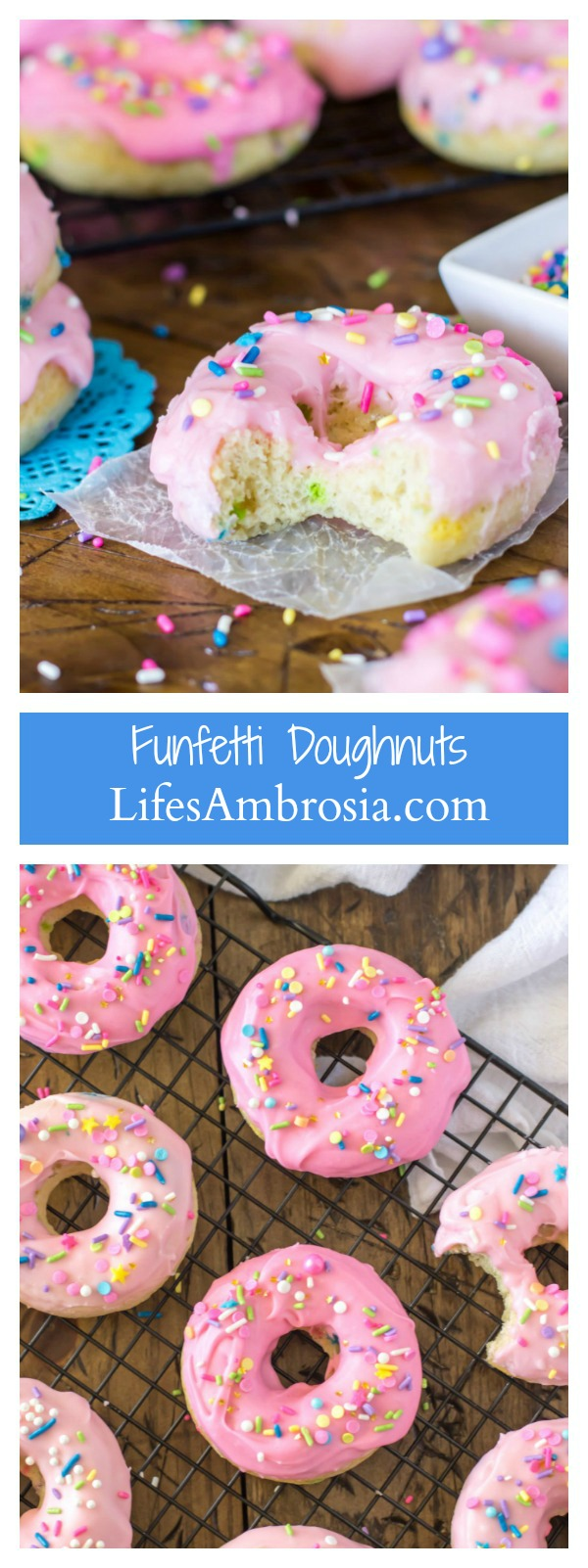 These Baked Funfetti Doughnuts are light, fluffy, crammed with sprinkles, and covered in a pretty pink glaze (and more sprinkles!)