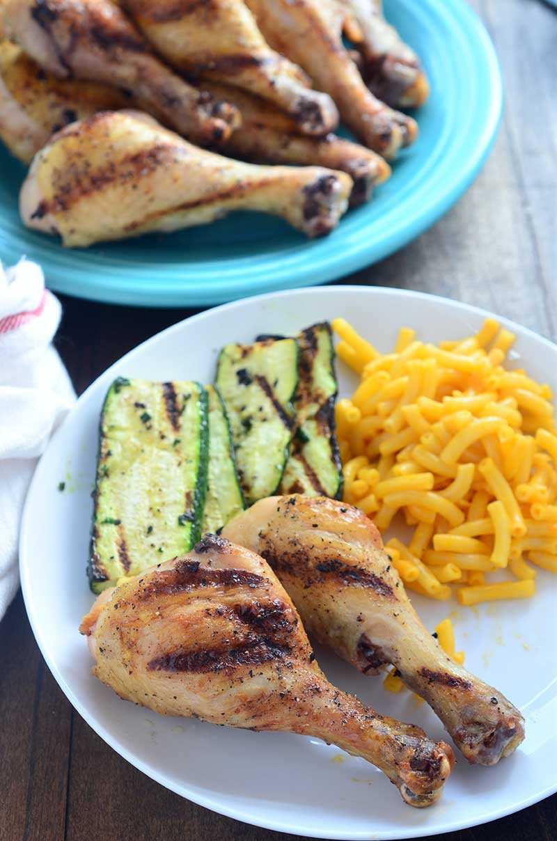 This garlic grilled chicken is started in a garlic brine, brushed with a black pepper garlic oil and then grilled to perfection.