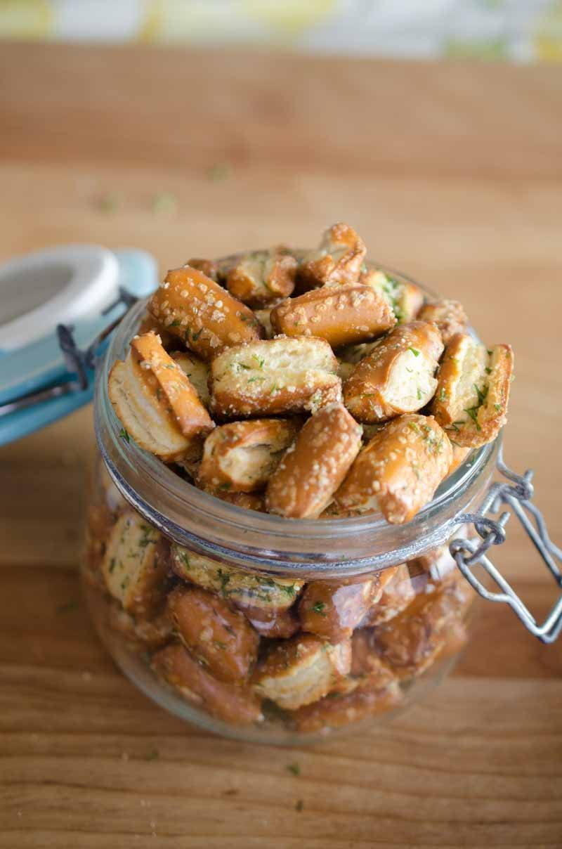 Garlic Parmesan Ranch Pretzels. Sourdough pretzels tossed with garlic, Parmesan and dill. A quick, easy and addictive snack perfect for Game Day.