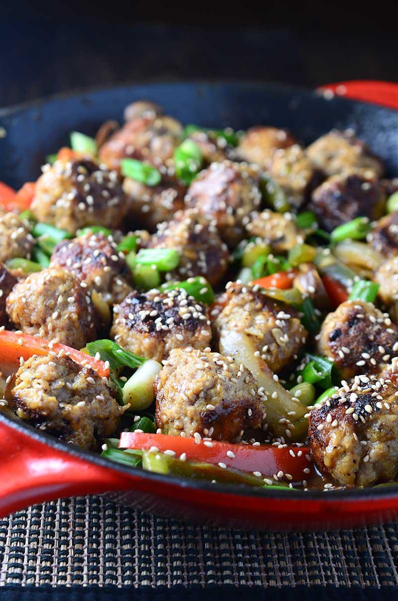 Garlic Pork Meatball Stir Fry