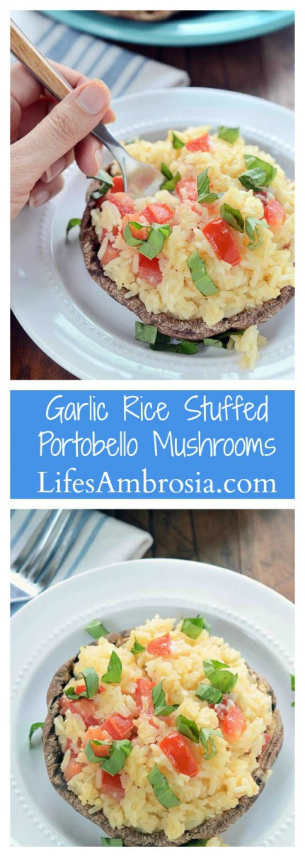 Garlic Rice Stuffed Portobello Mushrooms are stuffed with garlic rice, tomatoes and goat cheese then sprinkled with fresh basil.
