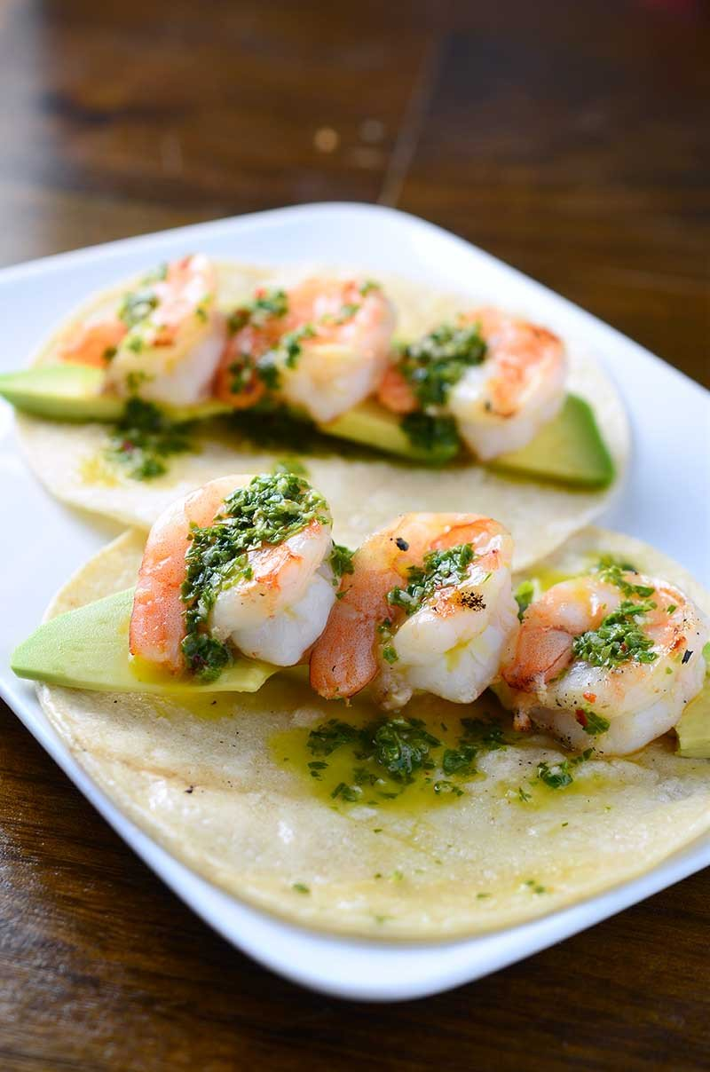 Grilled Shrimp Tacos with Basil Chimichurri