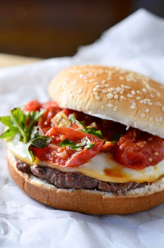 Grilled Tomato Basil Burgers