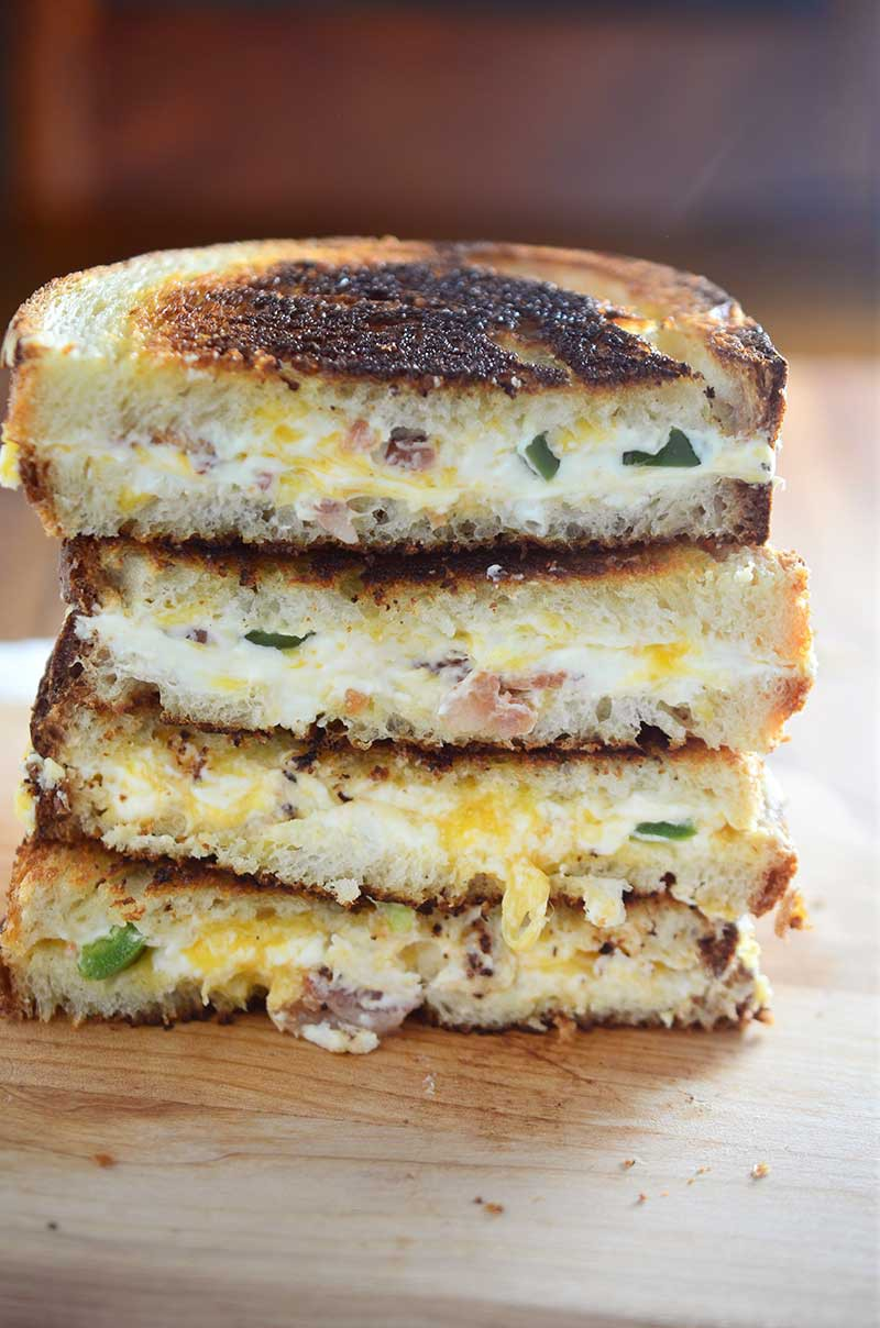 Jalapeño Popper Grilled Cheese loaded with cream cheese, cheddar, jalapeños and bacon.