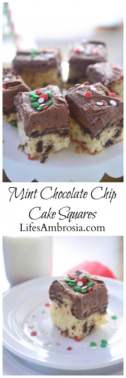 Mint Chocolate Chip Cake Squares Collage