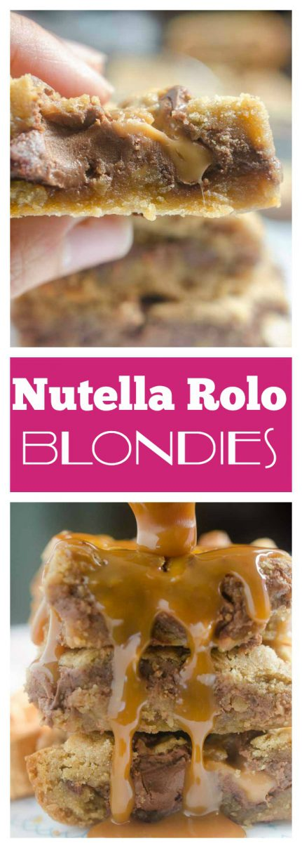 Nutella Rollo Blondies are the perfect bar for chocolate, hazelnut & caramel lovers. Traditional blondies with a center of nutella and chopped rolos candies