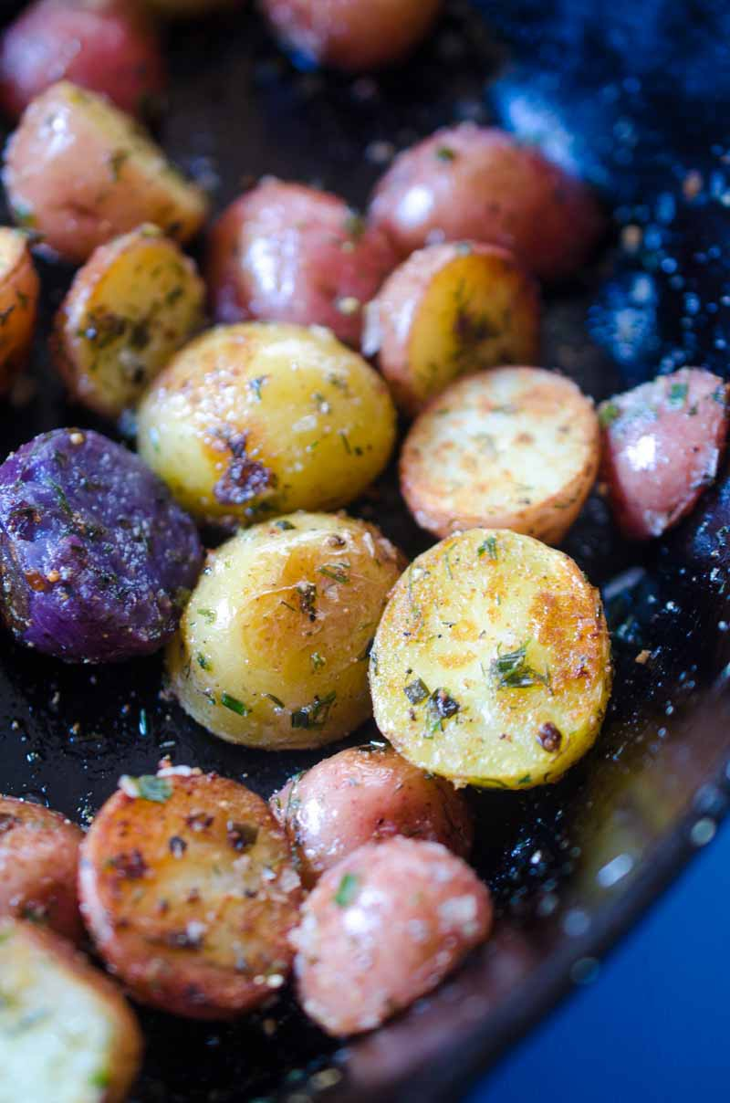 Pressure Cooker Potatoes are fluffy and tender on the inside and browned and crispy on the outside and tossed with herbs. You'll be obsessed!