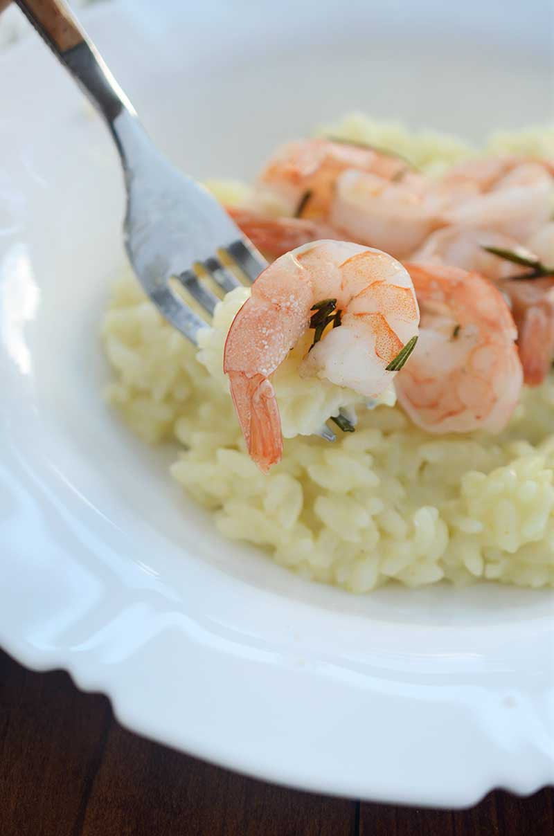 Easy Pressure Cooker Risotto and Rosemary Roasted Shrimp. This is a gorgeous and simple meal that is perfect for date night at home AND busy weeknights.