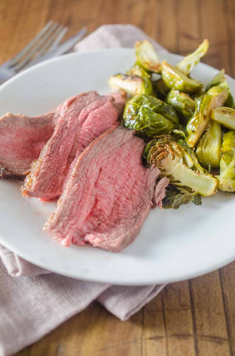 Your whole family will love this easy and delicious One Pan Roasted Beef Tri-Tip & Brussels Sprouts!