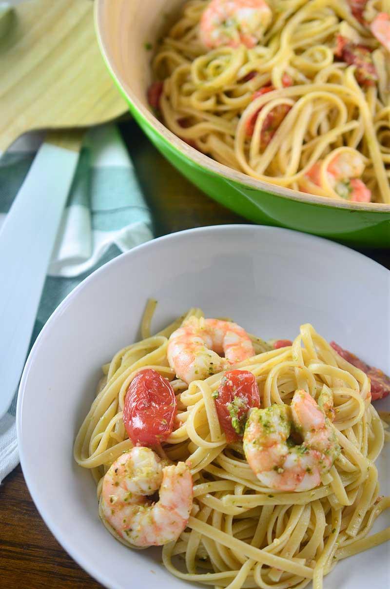 Roasted Shrimp Pesto Pasta