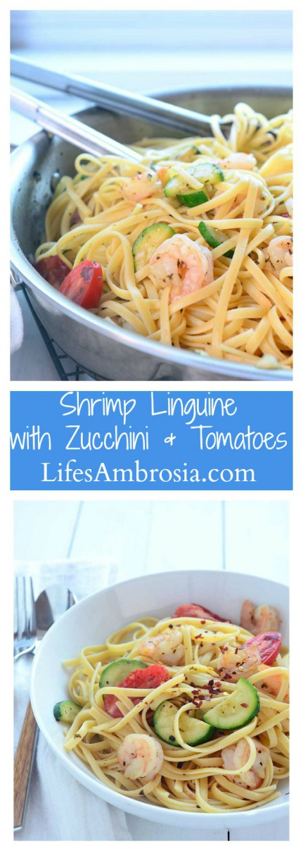 A quick and easy shrimp linguine loaded with garlic, olive oil, oregano, zucchini, tomatoes and crushed red peppers.