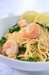 Shrimp Pasta with Arugula and Lemon