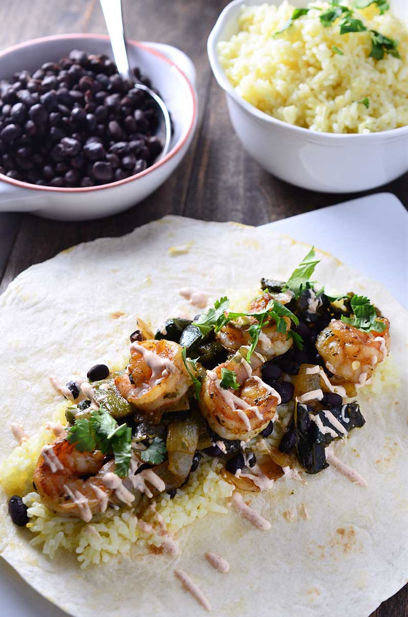 Shrimp & Roasted Poblano Burrito