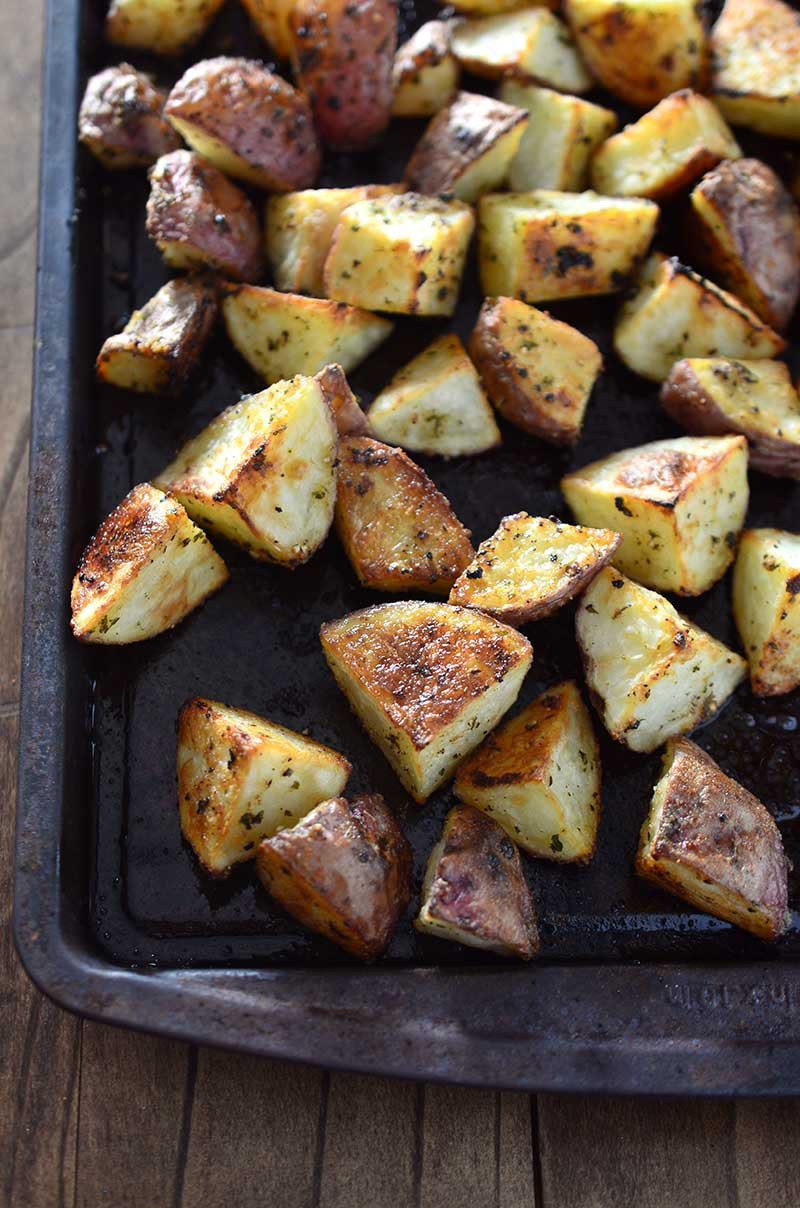 One of my kitchen staples! Roasted red potatoes that are savory and crispy on the outside and buttery and soft on the inside. They are perfect with just about every meal.