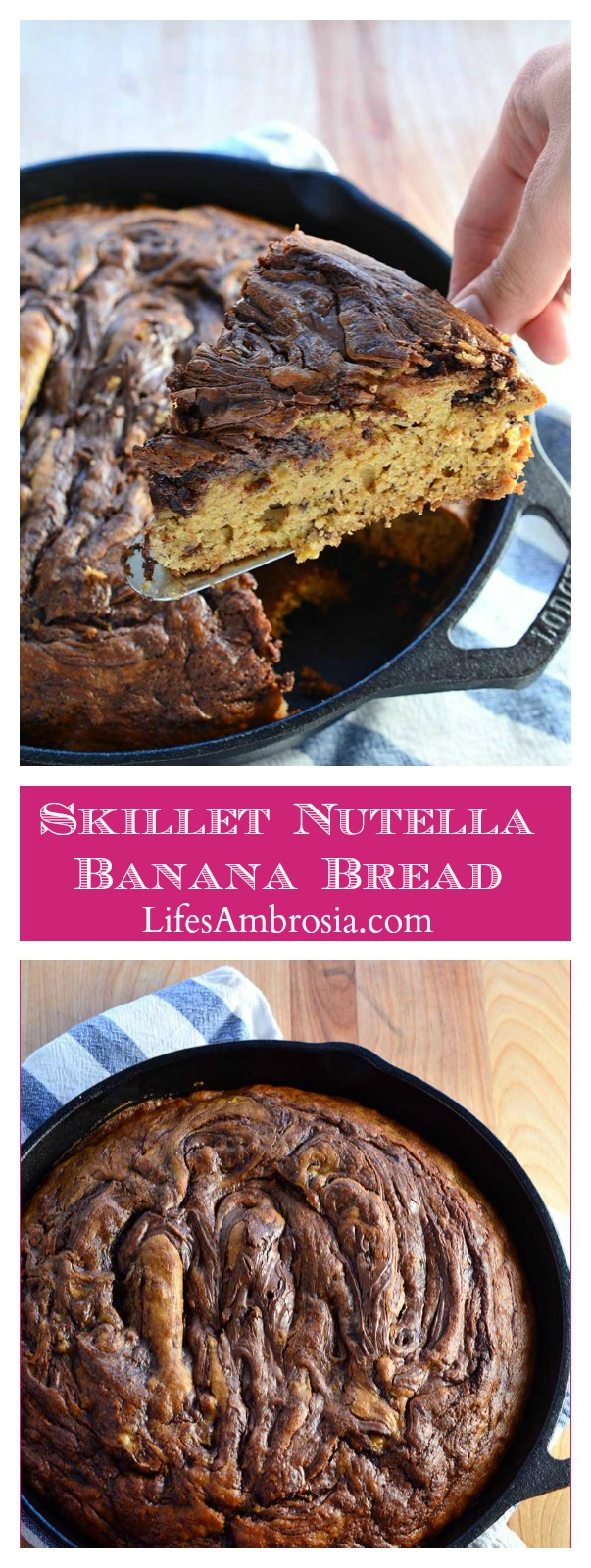 This skillet Nutella banana bread is moist, decadent and loaded with bananas and Nutella. It makes a great breakfast AND dessert.