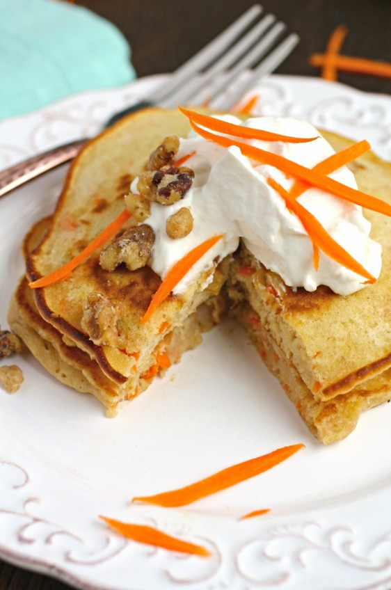 Carrot Cake Pancakes with Whipped Topping