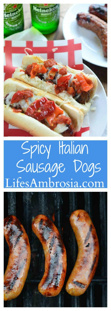 MSG 4 21+ Spicy Italian Sausage Dogs topped with mozzarella, marinara and spicy peppers are the perfect spicy grilled meal this summer