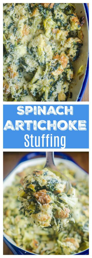 Spinach Artichoke Stuffing is a mashup of everyone's favorite party dip and everyone's favorite Thanksgiving side. It's loaded with spinach, artichokes and parmesan cheese. It's a must for your holiday table!