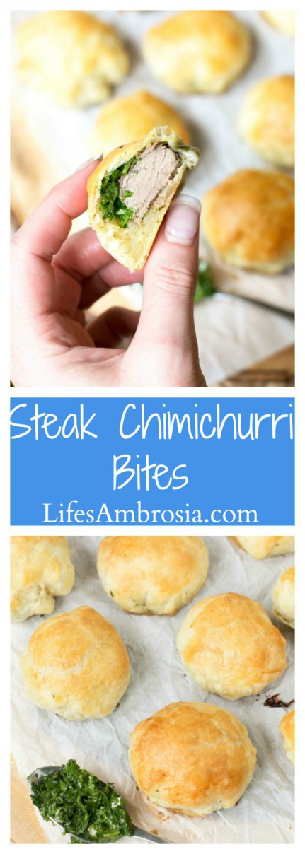 Steak ChimichurrI Bites are steak wrapped in puff pastry and slathered with chimichurri and they are the perfect football food!