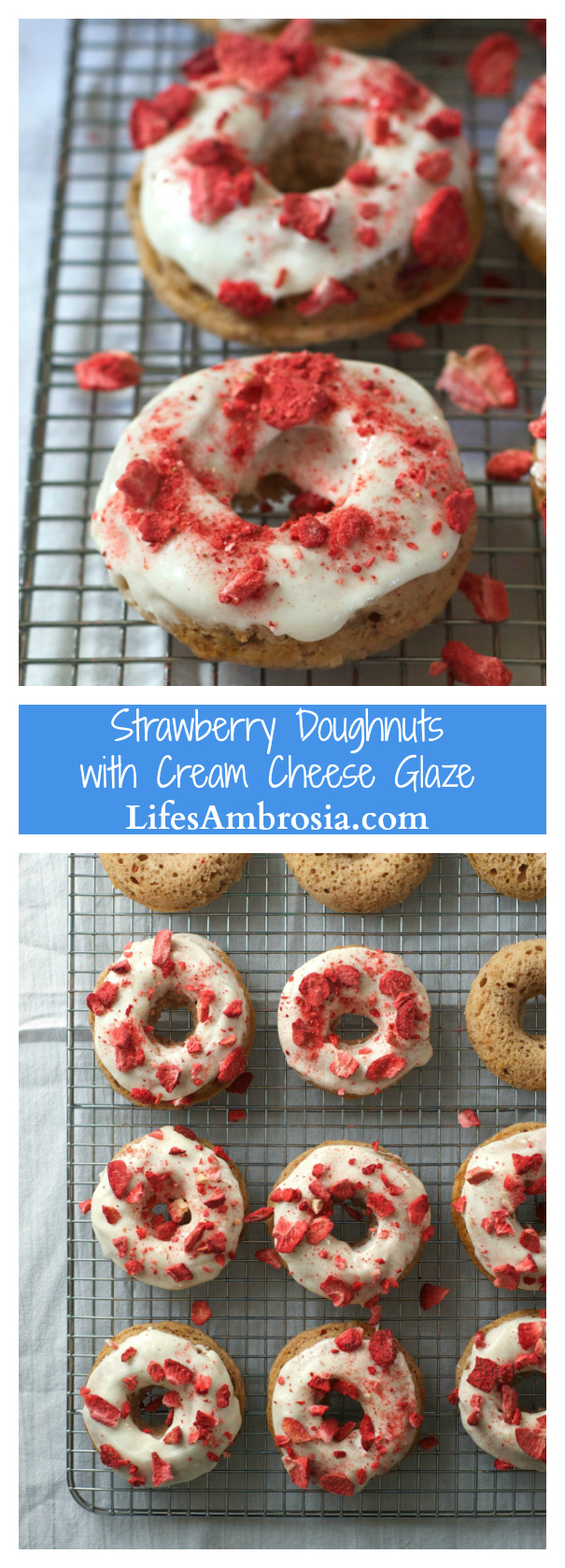Baked strawberry doughnuts with cream cheese glaze are the perfect sweet treat to start your day!