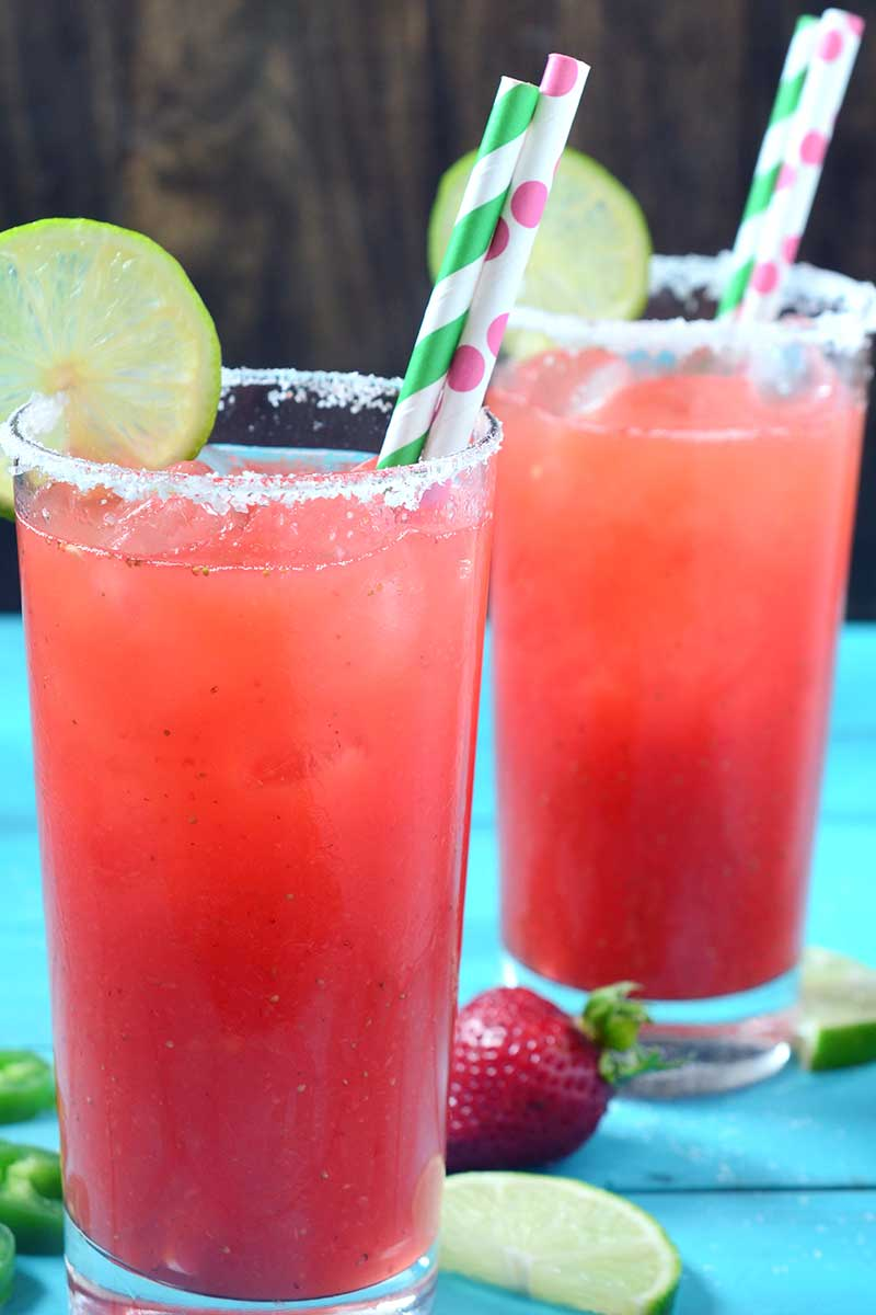 Sweet, spicy and refreshing, this Strawberry Jalapeño Margarita will be the hit of all your summer parties!