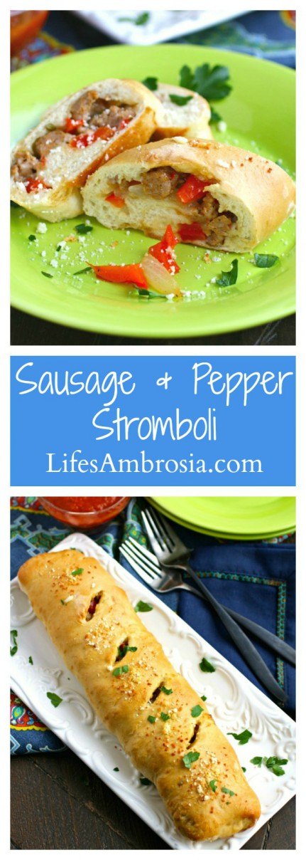 Sausage and Pepper Stromboli is a great family-friendly dish, and it's perfect as a snack or appetizer, too.
