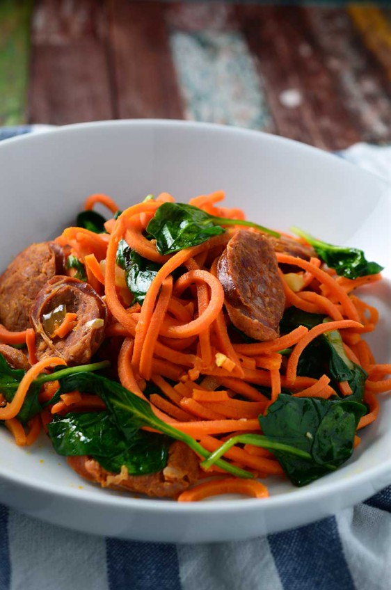 Sweet Potato Noodles with Linguica & Spinach