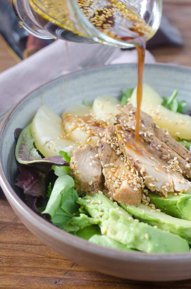 This sweet and savory Teriyaki Chicken Salad is chock full of pineapple, avocado, shallots and Johnsonville Flame Grilled Teriyaki Chicken.