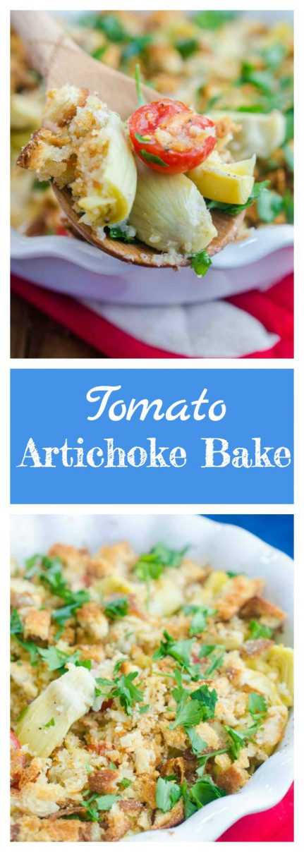 Tomato Artichoke Bake is the perfect side! It's loaded with artichoke hearts, fresh bread crumbs, tomatoes, grated parmesan and then baked until golden.