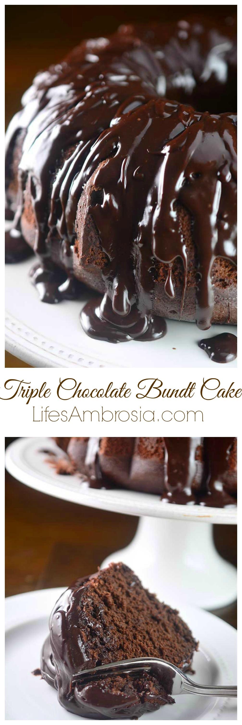 Triple Chocolate Bundt Cake - Life's Ambrosia