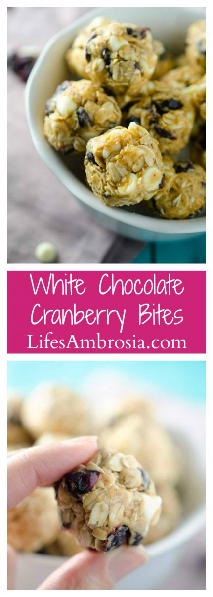 No Bake White Chocolate Cranberry Bites are the perfect afternoon snack!