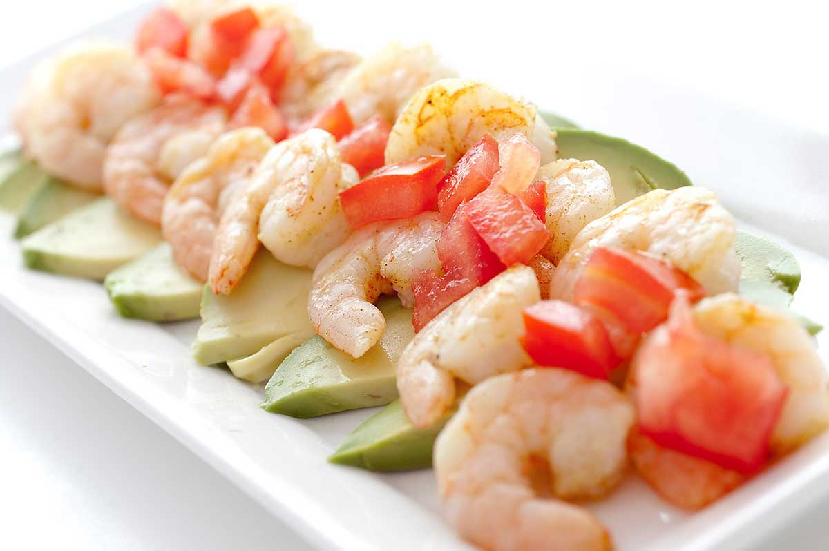 Adobo Shrimp with Tomatoes and Avocado