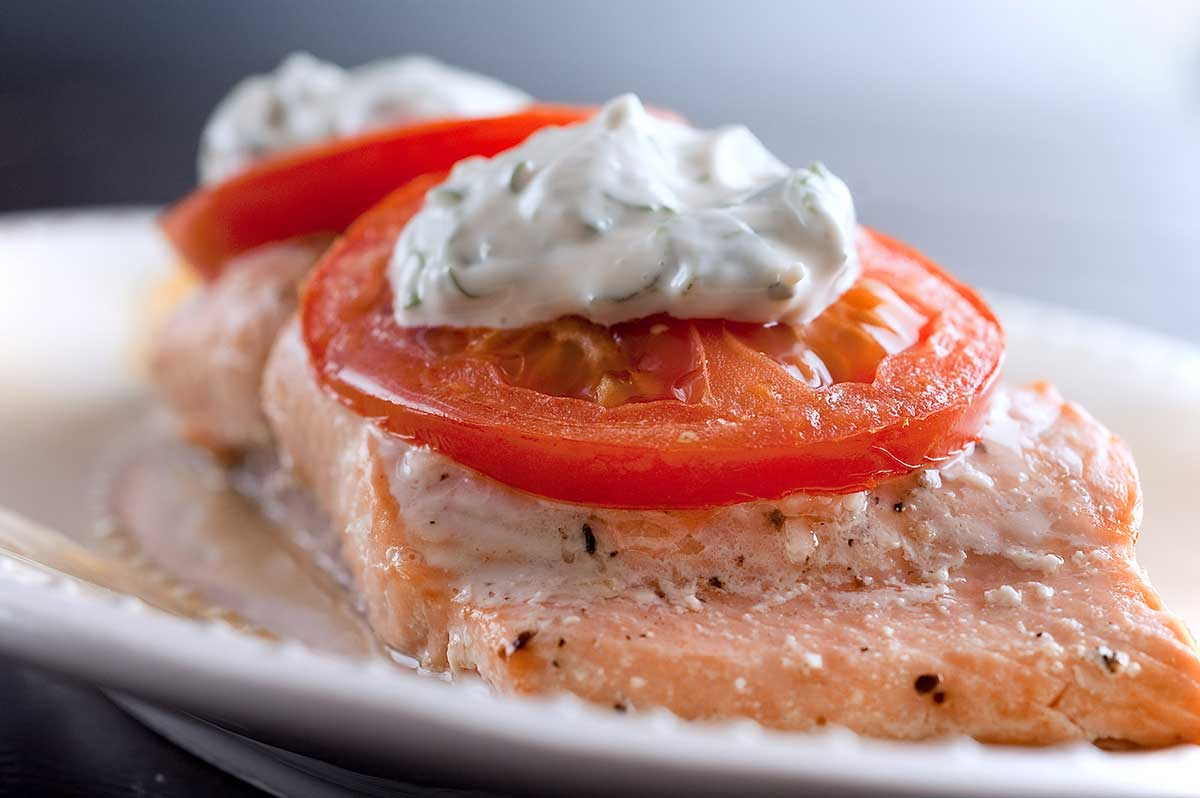 Baked Salmon with Basil Mayonnaise and Tomatoes