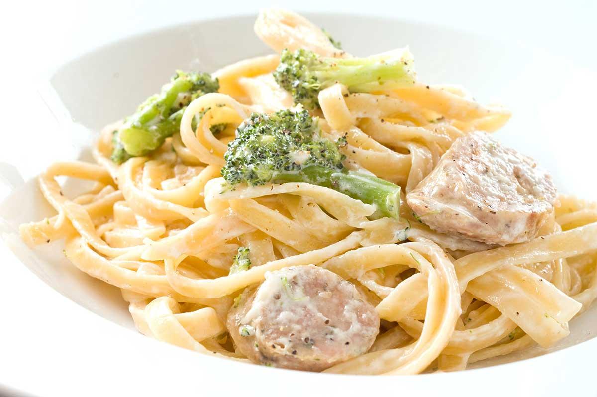 Creamy Broccoli and Sausage Fettuccine
