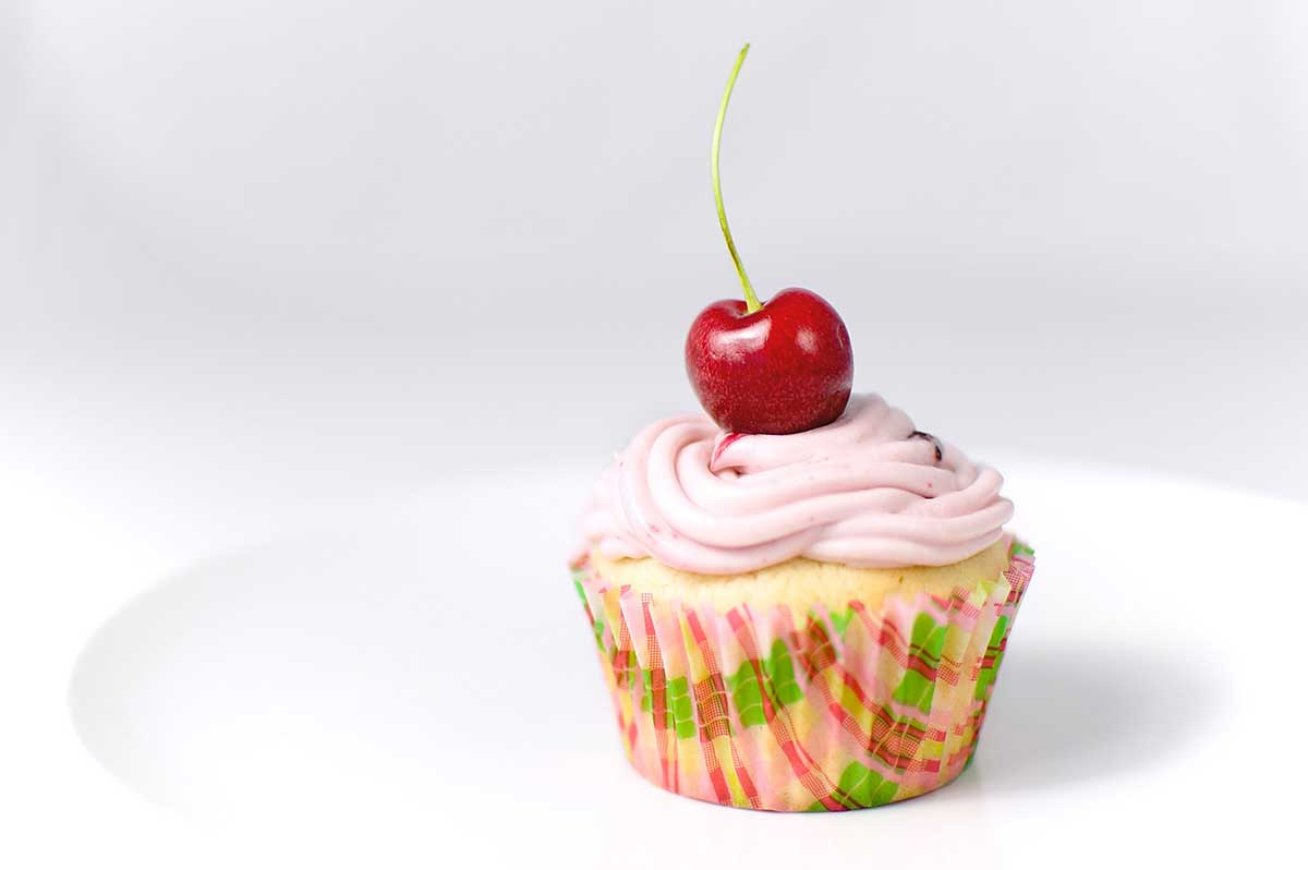 Buttermilk Cupcakes with Cherry Cream Cheese Frosting