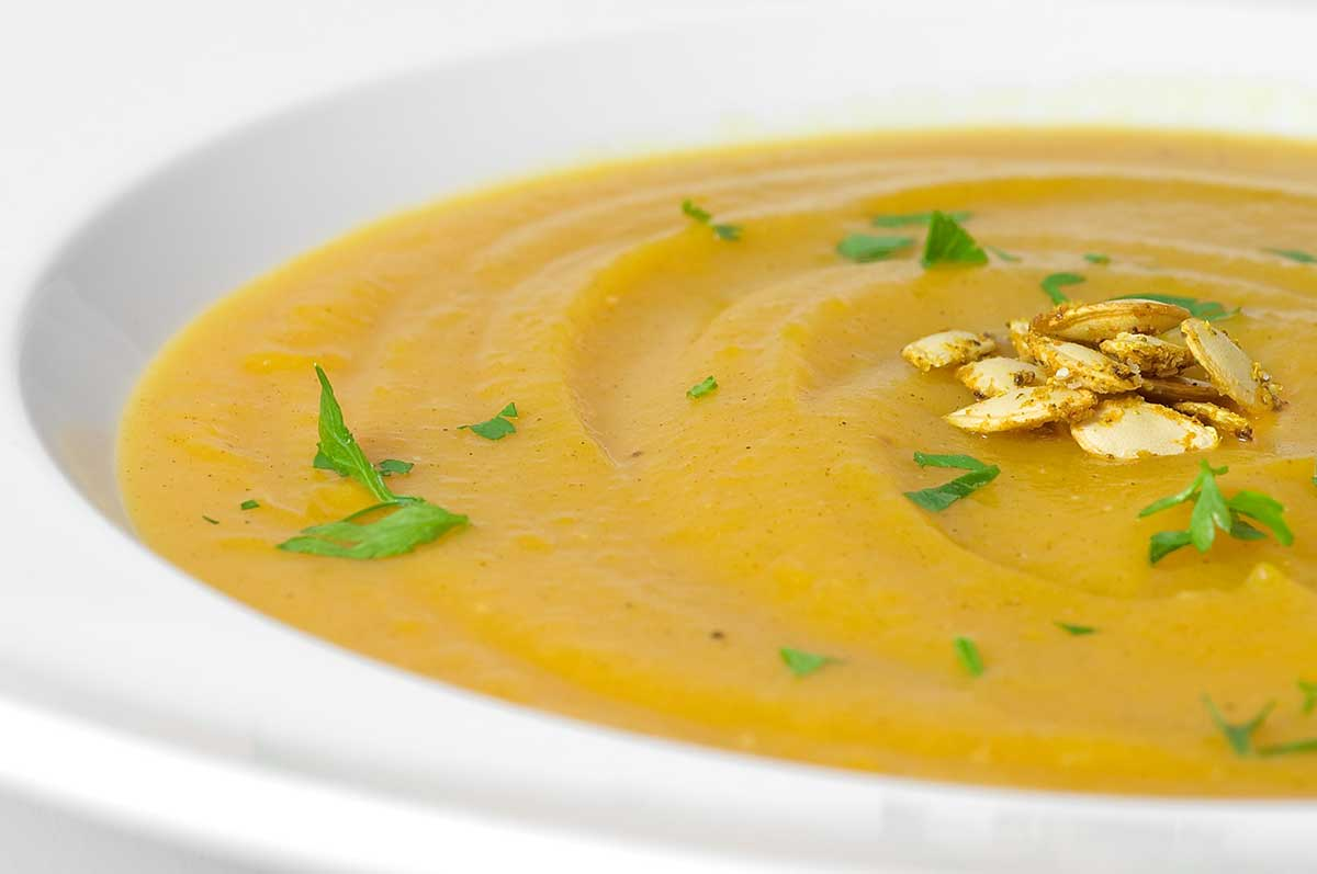 Butternut Squash Soup with Curried Squash Seeds