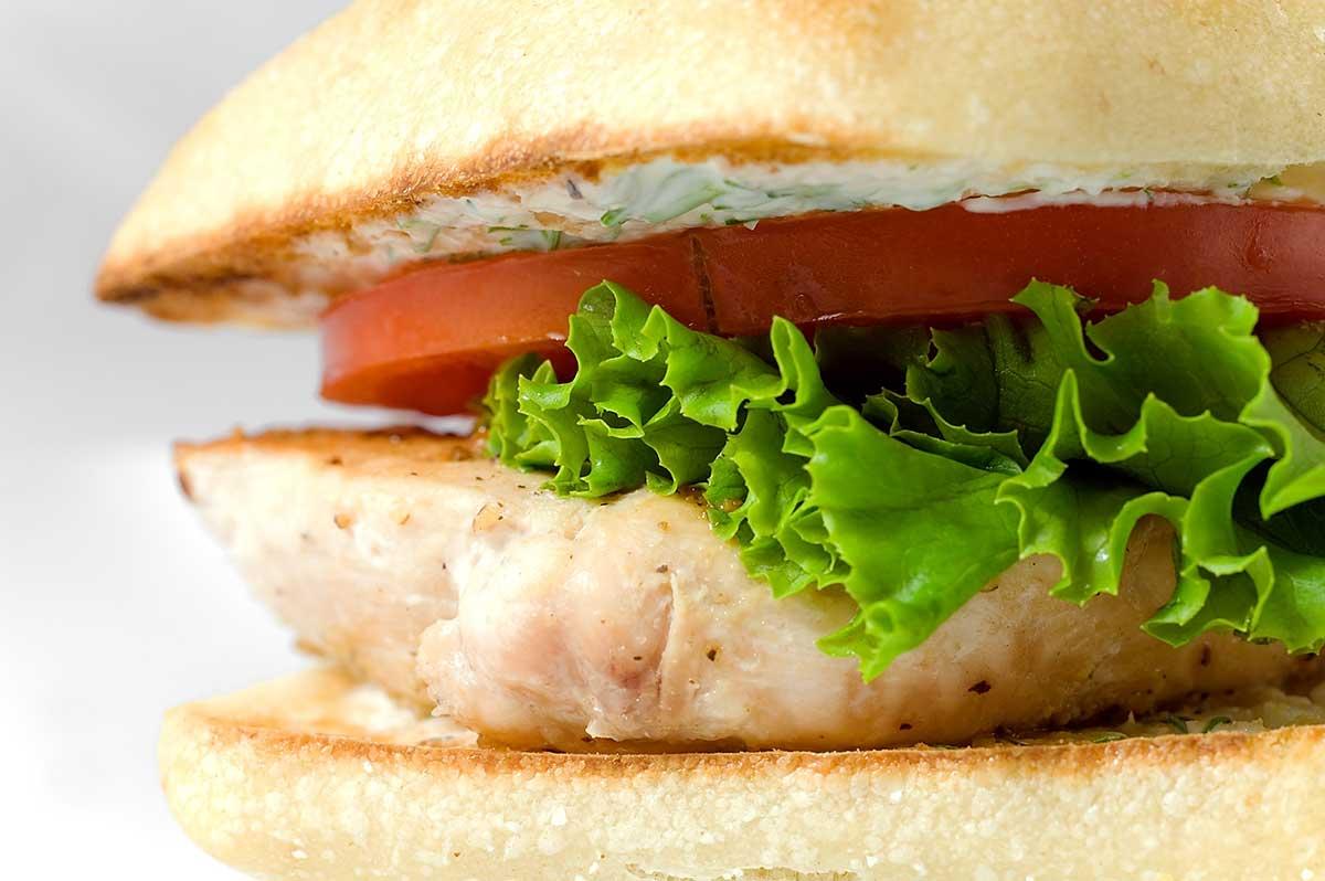 Chicken Sandwich with Yogurt Dill Sauce