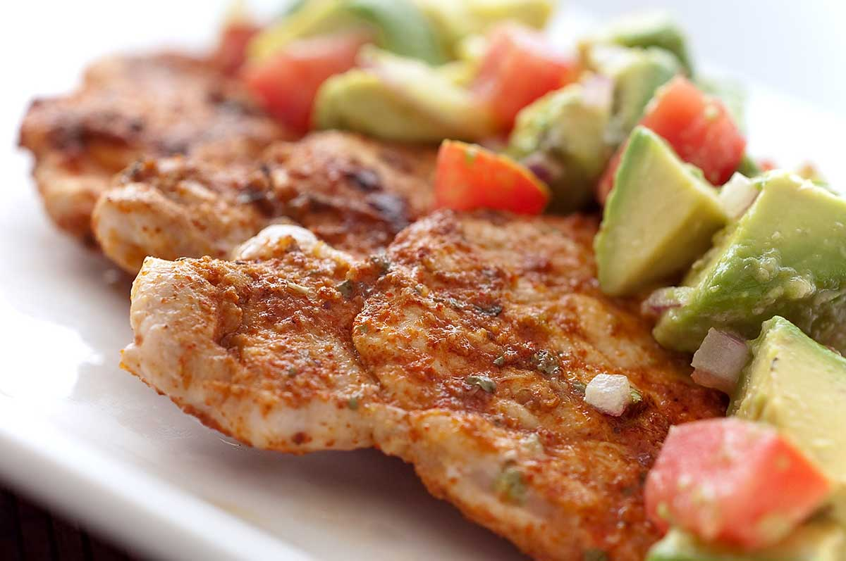 Chili Rubbed Pork with Avocado Salsa