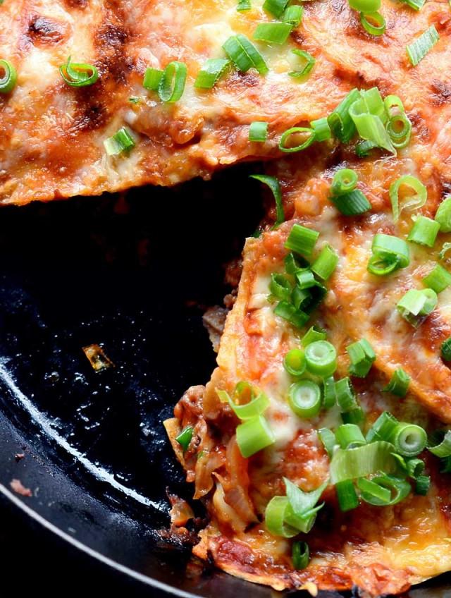 Chorizo and Hatch Chile Skillet Enchilada