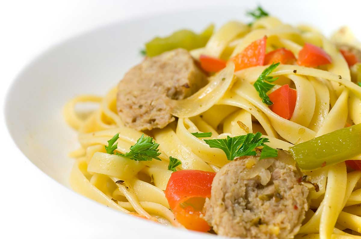 Fettuccine with Sausage, Peppers and Onions