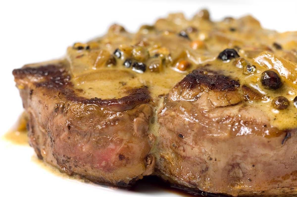 Filet Mignon with Peppercorn Sauce
