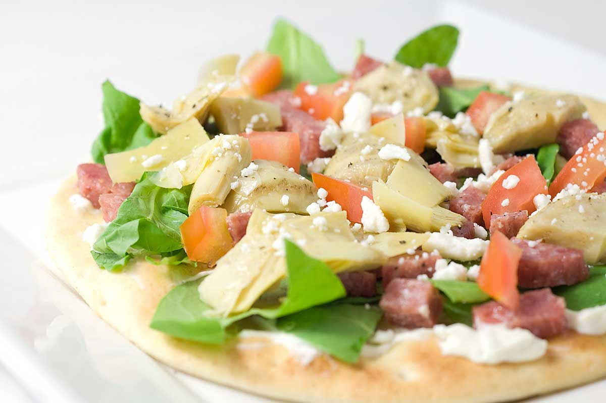 Flat Bread Pizza with Salami and Arugula