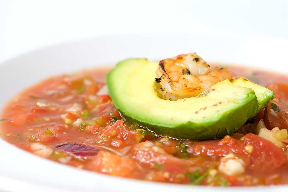 Gazpacho with Grilled Shrimp and Avocado