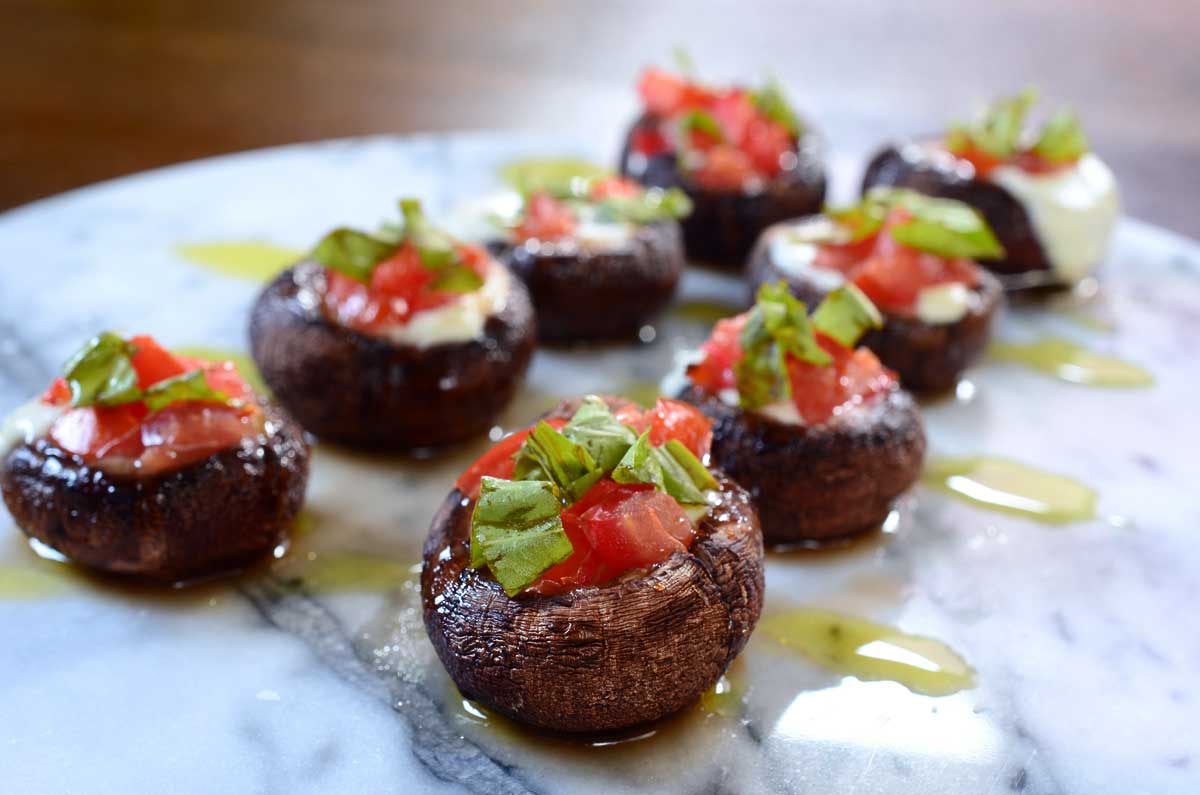 Grilled Caprese Stuffed Mushrooms