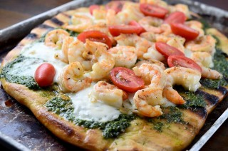 Grilled Shrimp Pesto Pizza