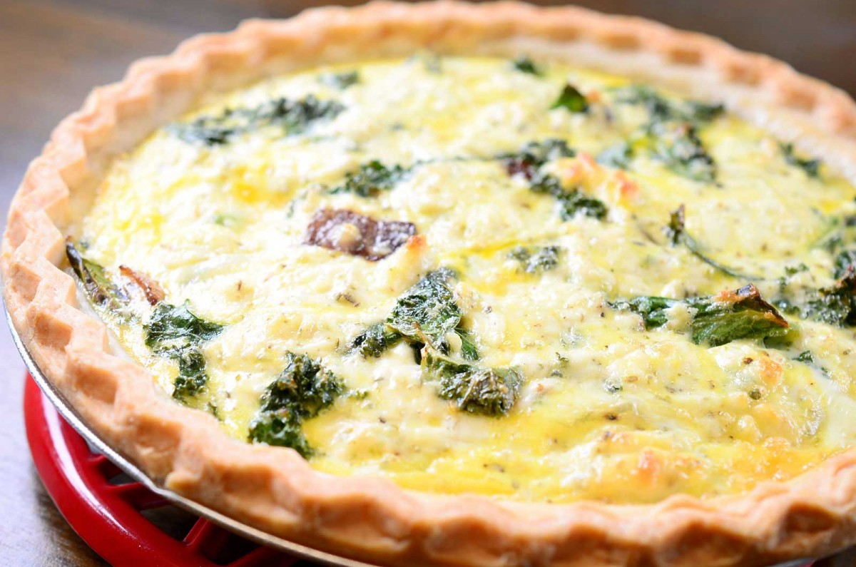 Kale and Goat Cheese Quiche