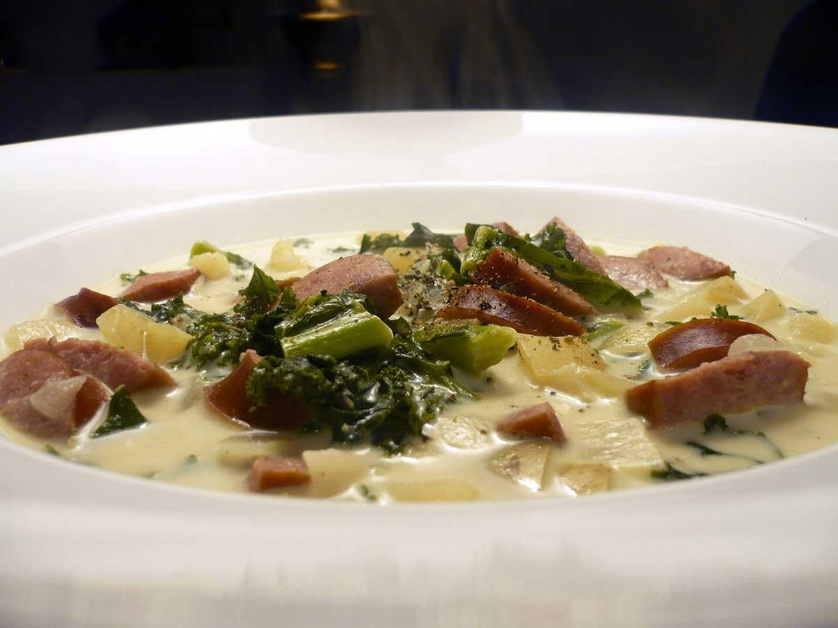 Creamy Kale and Kielbasa Soup