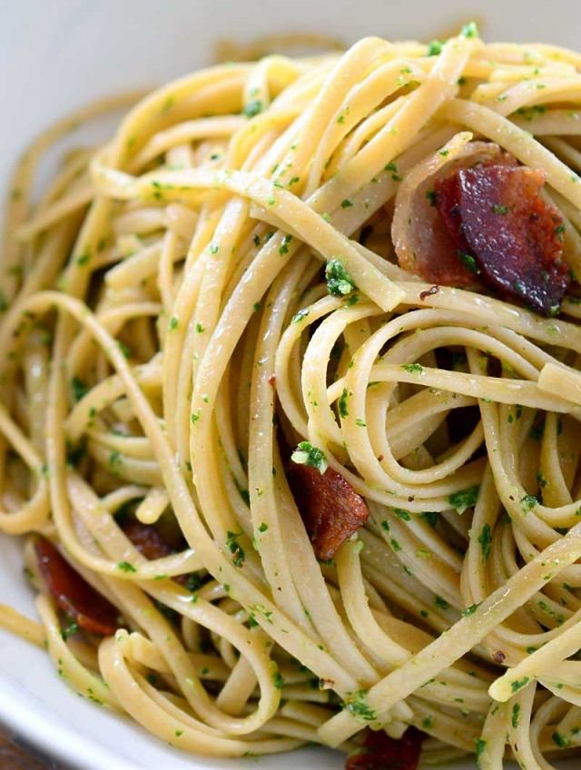Kale Pesto and Bacon Pasta